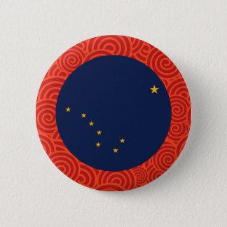Alaska round flag pinback button