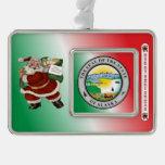 Alaska Santa Claus Christmas Ornament Silver Plated Framed Ornament