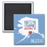 Alaska Save the Date - Customizable City 2 Inch Square Magnet