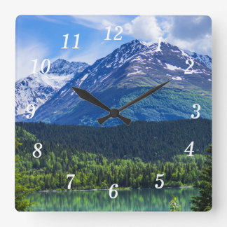Alaska Scenic Byway Mountain Square Wall Clock
