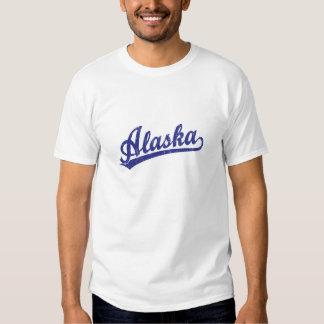 Alaska script logo in blue shirts