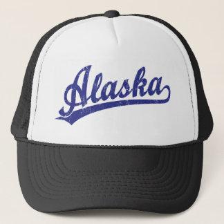 Alaska script logo in blue trucker hat