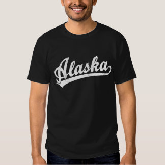 Alaska script logo in white tee shirt