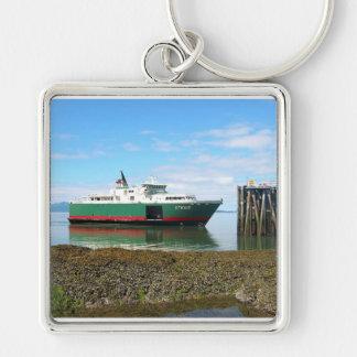 Alaska Silver-Colored Square Keychain