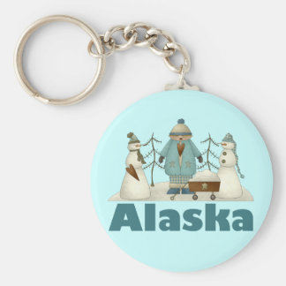 Alaska Snowmen T-shirt Gift Basic Round Button Keychain