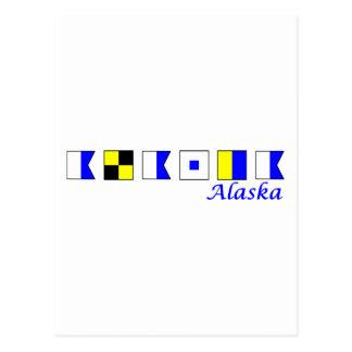 Alaska spelled in nautical flag alphabet postcards
