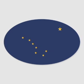 Alaska State Flag Design Oval Sticker