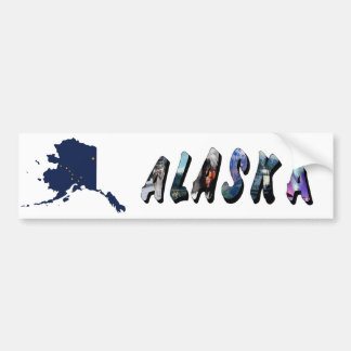 Alaska State Flag Map and Picture Text Bumper Sticker