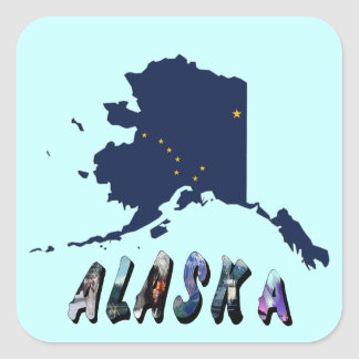 Alaska State Flag Map and Picture Text Square Sticker