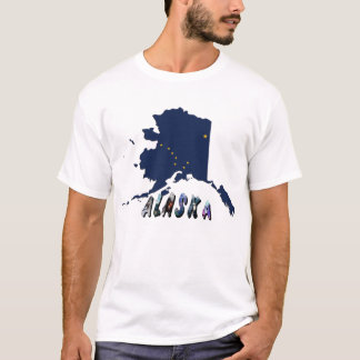 Alaska State Flag Map and Picture Text T-Shirt