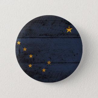 Alaska State Flag on Old Wood Grain Pinback Button