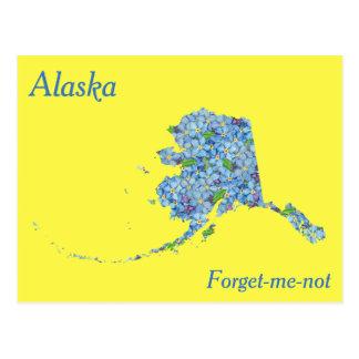Alaska State Flower Collage Map Postcard