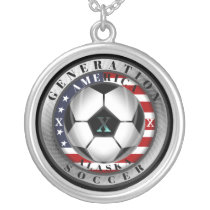 Alaska State Generation X American Soccer Silver Plated Necklace