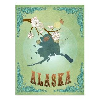 Alaska State Map – Green Post Card