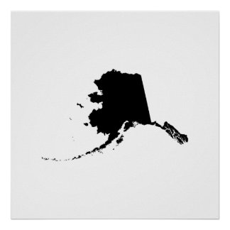Alaska State Outline Posters