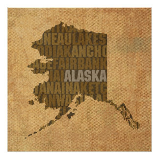Alaska State Outline Word Map on Canvas Poster
