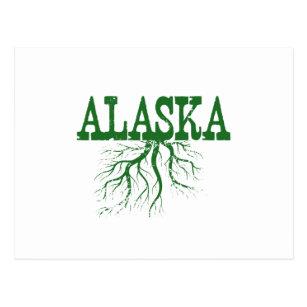 alaska state roots green word art postcard