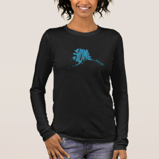 Alaska State Shape Home Word Art Blue Long Sleeve T-Shirt