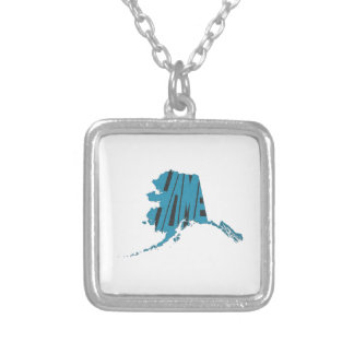 Alaska State Shape Home Word Art Blue Silver Plated Necklace