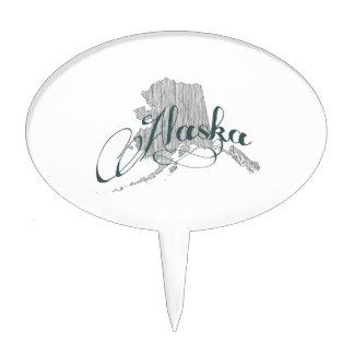 Alaska State Typography Cake Topper