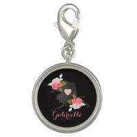Alaska State Watercolor Floral Monogrammed Photo Charm