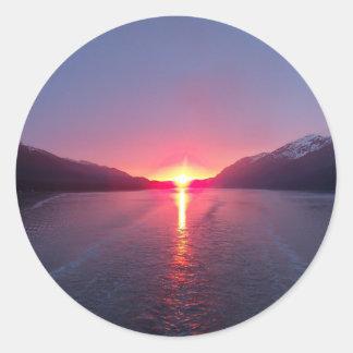 Alaska Sunset Classic Round Sticker