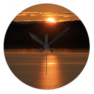 Alaska Sunset - Reflecting off Ocean Large Clock