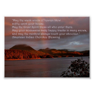 Alaska Sunset with Native American Quote Poster