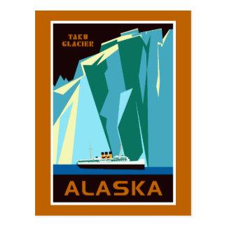 Alaska Taku Glacier retro vintage style travel Postcard