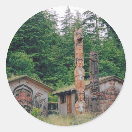 Alaska Totem Poles Classic Round Sticker
