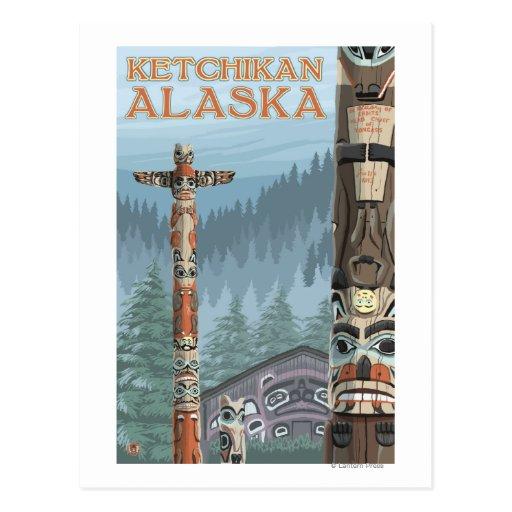 Alaska Totem Poles - Ketchikan, Alaska Postcard