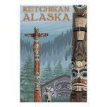 Alaska Totem Poles - Ketchikan, Alaska Poster