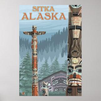 Alaska Totem Poles - Sitka, Alaska Poster