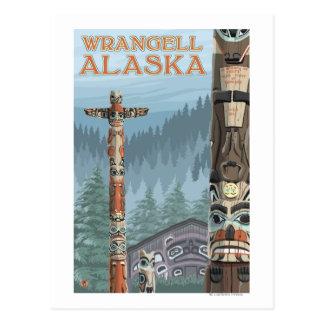 Alaska Totem Poles - Wrangell Alaska Postcard