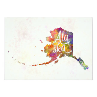 """Alaska US State in watercolor text cut out Invitación 5"""" X 7"""""""
