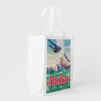 Alaska USA vintage travel poster. Grocery Bags
