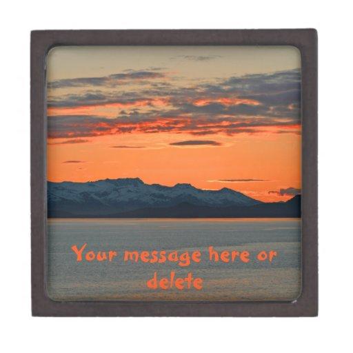 Alaska Vibrant Orange Sunset Premium Trinket Box
