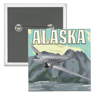 Alaska Vintage Travel Poster Pinback Button