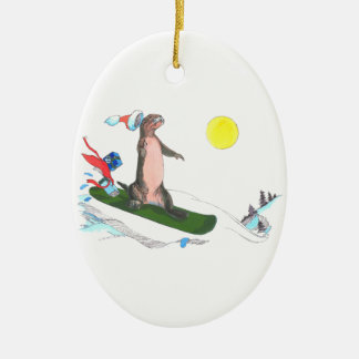 Alaska Whimsical Christmas Wildlife Oval Ornament