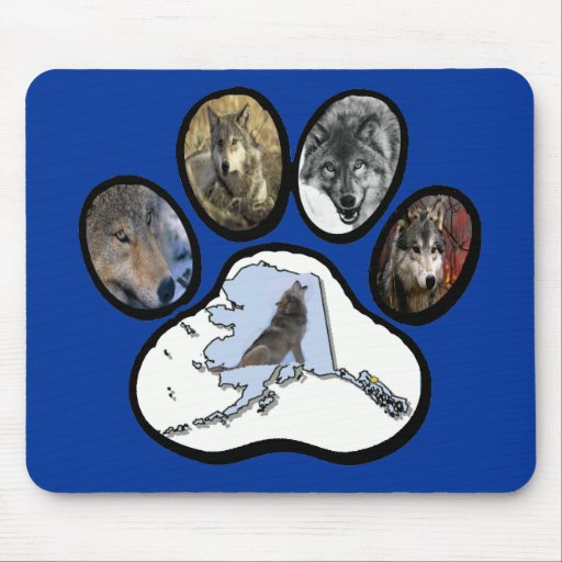 Alaska Wolf Paw Mouse Pad