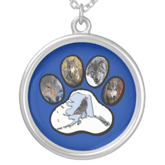 Alaska Wolf Paw Silver Plated Necklace