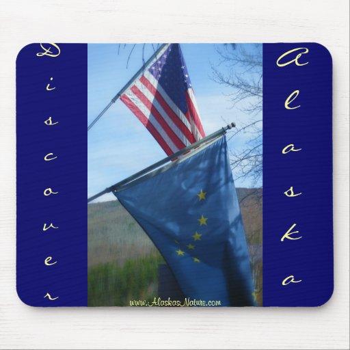 Alaska y bandera americana alfombrilla de raton