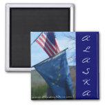 Alaska y bandera americana imán de frigorifico