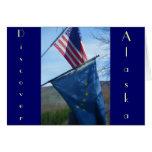Alaska y bandera americana tarjeta de felicitación