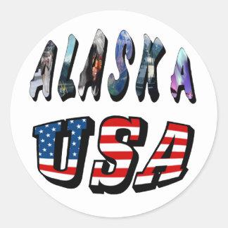 Alaska y texto de la bandera de los E E U U Pegatinas