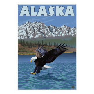 AlaskaBald Eagle Vintage Travel Poster