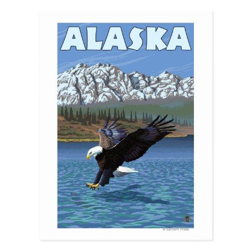AlaskaBald Eagle Vintage Travel Poster Post Card