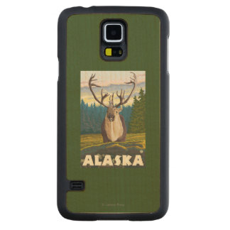 AlaskaCaribou in the Wild Vintage Travel Carved Maple Galaxy S5 Slim Case