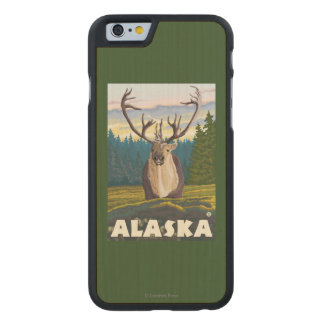 AlaskaCaribou in the Wild Vintage Travel Carved Maple iPhone 6 Case