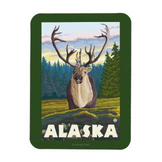 AlaskaCaribou in the Wild Vintage Travel Magnet